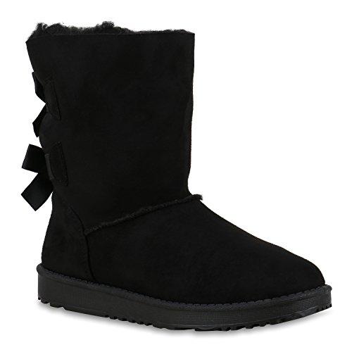Warm Gefütterte Damen Stiefel Boots Schlupfstiefel Schuhe Schwarz