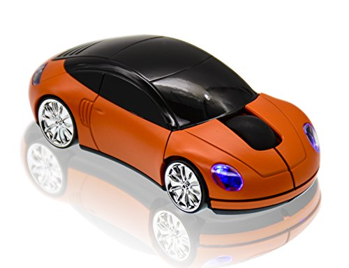 JLERU 2.4Ghz Inalámbrico Ratón, Portátil Ergonómico Ordenador Raton , Receptor USB Nano, 6 Meses vida de la Batería (naranja)