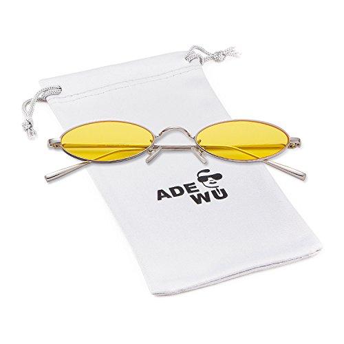 ADEWU Metall Oval & Rund Sonnenbrillen Unisex Mode Vintage Brillen Herren Damen (Oval - Gelb (Linse) + Silber (Rahmen) N)