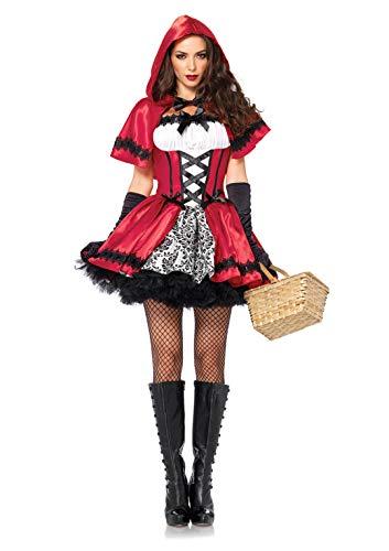 LEG AVENUE 85230 - 2Tl. Kostüm Set Gothic Riding Hood, Kostüm Damen Karneval rot/weiß, L (EUR 42-44)