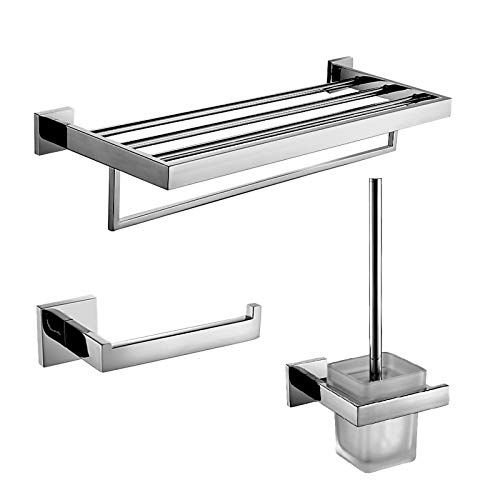 xiaofengliustore Bathroom Accessories :Bad Zubehör-Set Moderne Edelstahl 3 Stück - Hotelbad Toilettenbürstehalter Turm Bar Toilettenpapierhalter:Nickel -