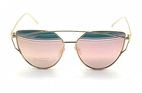 Marques Fashion Cat Eyes Femmes Lunettes de soleil classique Designer jumelles Poutres Lunettes de soleil (Occhiali da sole)