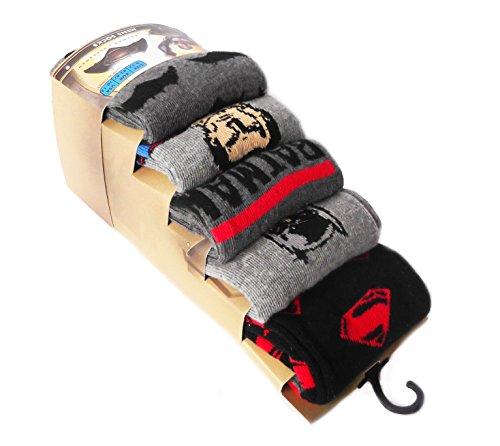 Confezione da 5paia di calze da uomo Ragazzi Batman v Superman Black/BatmanvsSuperman Design Dimensione 40-42