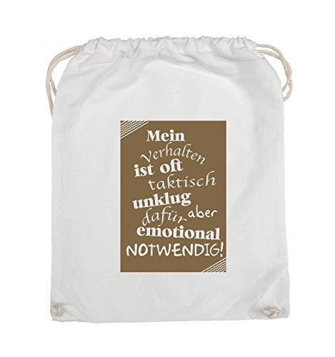 Comedy Bags - Mein Verhalten ist oft taktisch unklug - ZETTEL - Turnbeutel - 37x46cm - Farbe: Schwarz / Silber Weiss / Hellbraun