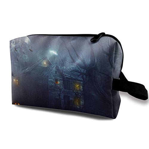 With Wristlet Cosmetic Bags Scary Haunted House Travel Portable Makeup Bag Zipper Wallet Hangbag