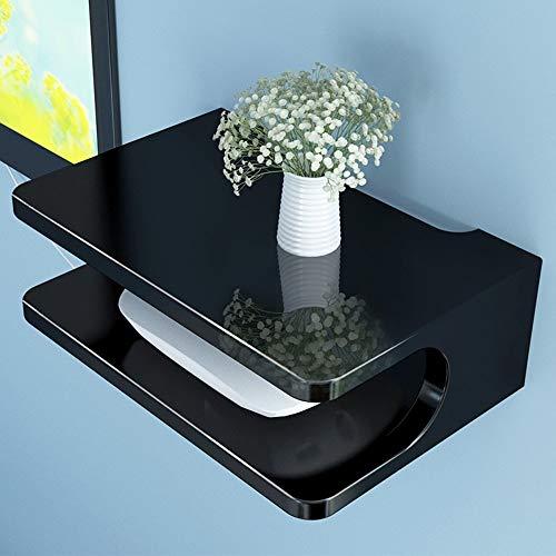 WCS TV-Set-Top-Box-Rack-Wand-Wand-Wohnzimmer-Wand-Schlafzimmer-Raumteiler-Router-Aufbewahrungsbox Schwimmende Regale (Color : Black) -