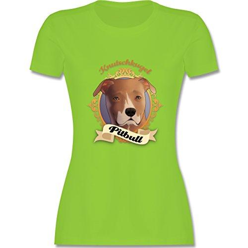 Hunde - Pitbull - Knutschkugel - tailliertes Premium T-Shirt mit  Rundhalsausschnitt für Damen Hellgrün
