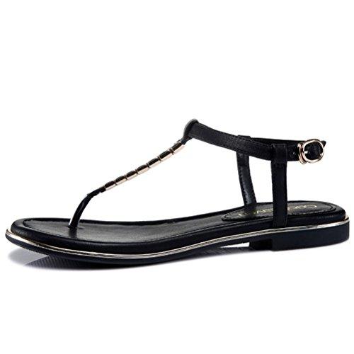 Modische Bequeme Sommer Damen Kühle Sandalen Dicke Sohle Keilabsatz Einfache Slip-on T-Riemen Weizenband Zehentrenner Schwarz