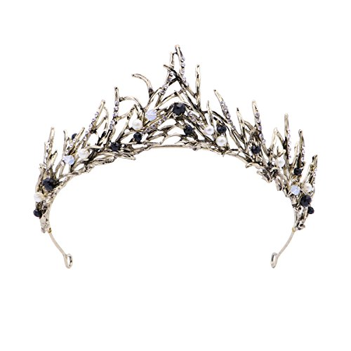 Black Swan Kostüm Wie - FRCOLOR Vintage Prinzessin Haar Krone Handmad Gold Blatt Tiara Perle Braut Krone Hochzeit Tiaras Haar-Accessoire