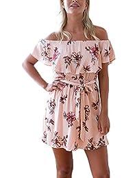 Damen Sommerkleider Strandkleid Off Schulter Blumendrucken Mit Belt Elegant  Mini Kurz Kleider Rüschen Mädchen Urlaub Party d50ebf44a3