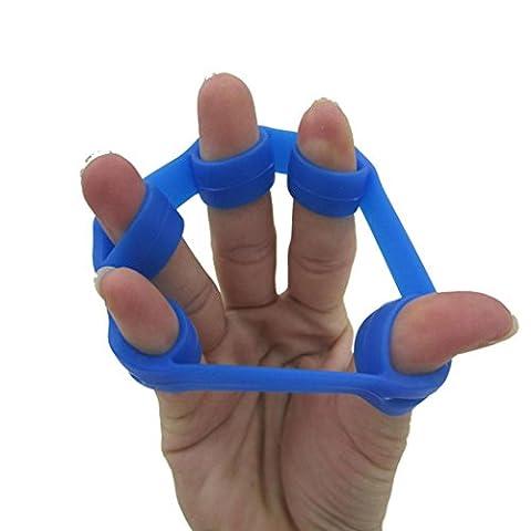 Tefamore 2 Stück Hand Finger Stärke Übung Trainer Verstärkung Grip Widerstand Band Spannung (Blau A)
