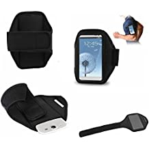 DFV mobile - Neoprene sports armband case premium for > bogo lifestyle 53qc, color funda negro