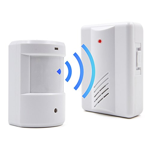 Amytech Bewegungsmelder Alarm Ladenglocke Funk Durchgangsmelder 200 Meter Laden klingel (1 Empfänger + 1 Sensor)