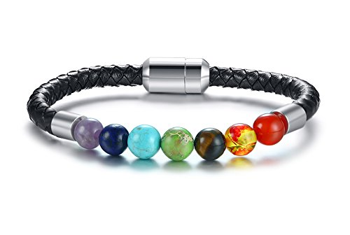 s geflochtenes Leder Armband Nagel Manschette Armband Armreif für Männer Gold,22cm ()