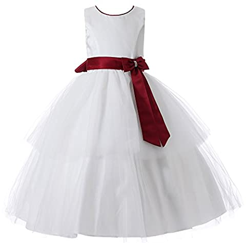 Aikolili Enfant Filles Mariage Soiree Ceremonie Parti Robe de Noeud Papillons Tulle 4-12 Ans (4 Ans, Blanc) (8 Ans, Rouge)