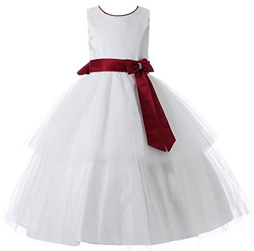 Aikolili Flower Girl Dress Principessa con Bowknot Comunione Dress for spettacolo di cerimonia nuziale della sfera del partito di promenade (6 Anni, Rosso)
