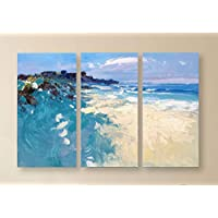 Set of 3 Beach Painting on Canvas Original Triptych Ocean Large Wall Art Home Decor Gift
