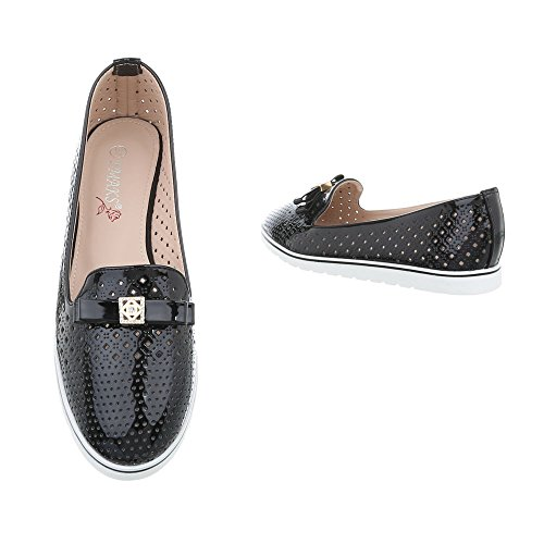 Ital-Design Scarpe da Donna Mocassini Piatto Slipper nero J212A