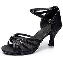 VESI-Zapatos de Baile Latino de Tacón Alto/Medio para Mujer Lazo Negro 39