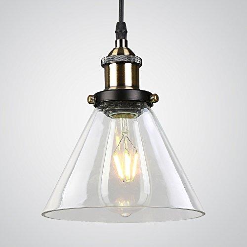 Splink Vintage Industrie Pendelleuchte Glas Lampenschirm Hängeleuchte für Küche Loft Schlafzimmer Office Home Modern Dekorative Hängelampe (Kristall-glas-top-esstisch)