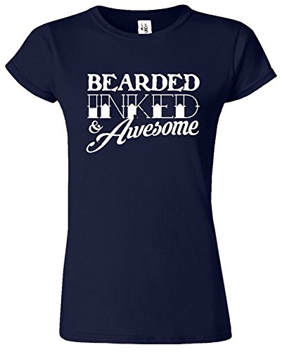 BEARDED INKED Womens T-shirt drôle Fête des pères Café Cadeau Bleu Marine / Blanc Design
