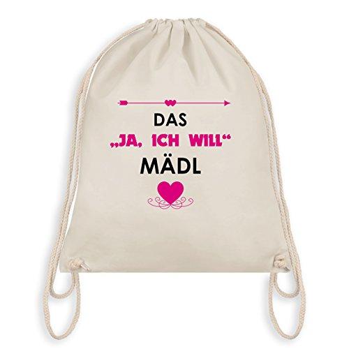 JGA Junggesellinnenabschied - Das Ja, ich will Mädl - Turnbeutel I Gym Bag Naturweiß