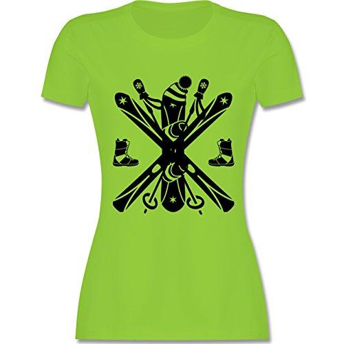 Wintersport - Ski Snowboard Wintersport - tailliertes Premium T-Shirt mit Rundhalsausschnitt für Damen Hellgrün
