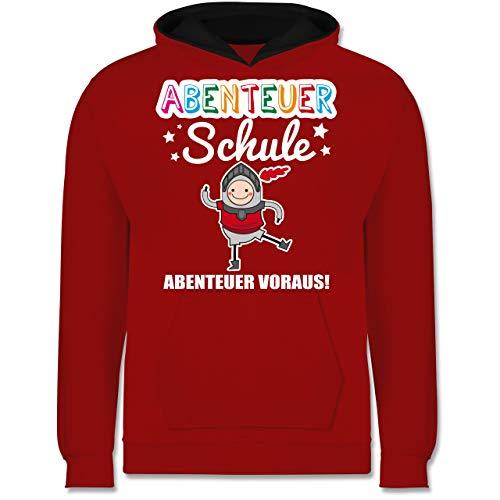 Shirtracer Einschulung und Schulanfang - Abenteuer Schule Ritter Abenteuer voraus! - 7-8 Jahre (128) - Rot/Schwarz - JH003K - Kinder Kontrast Hoodie
