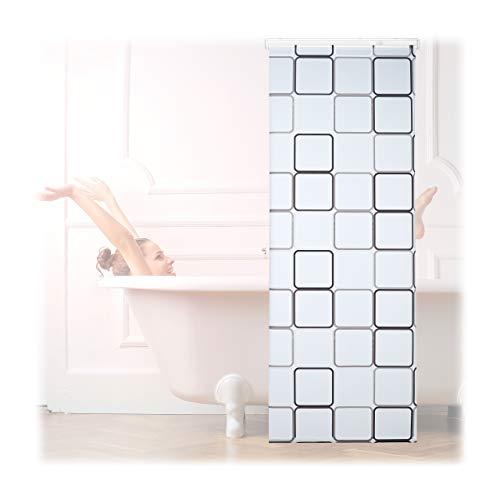 Relaxdays 10026666_1051 Carré, 80x240 cm, Rideau de Douche, Baignoire Bain Store, Fixation Plafond, Semi-Transparent, PVC, Plastique, Aluminium, 240 x 80 x 5 cm