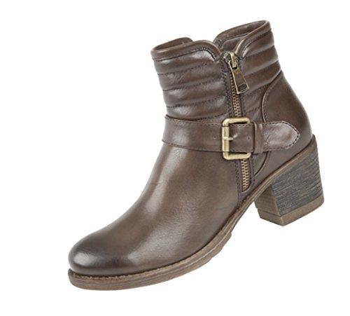 Damen Reißverschluss innen und Schnalle Cuban Heel Stiefelette Braun