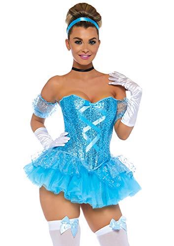Sexy Kostüm Cinderella - LEG AVENUE 85025 - Cinderella Kostüm, Größe M, aqua