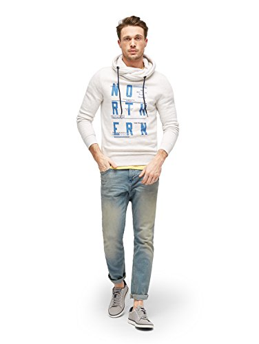 TOM TAILOR Herren Sweatshirt Snood with Color Details blanc de blanc white