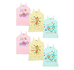 Littly Baby Girls Printed Cotton Camisole Slips/Vests, Pack of 6 (Multicolor)