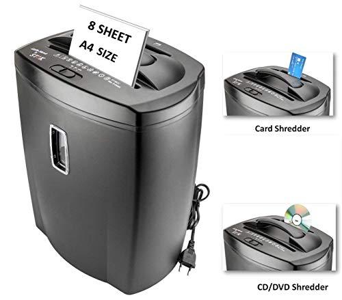 SToK 8 Sheet Cross Cut Paper Shredder 21 Liter Large Waste Bin Capacity with CD/DVD and Credit Card Shredder (ST-30CC)