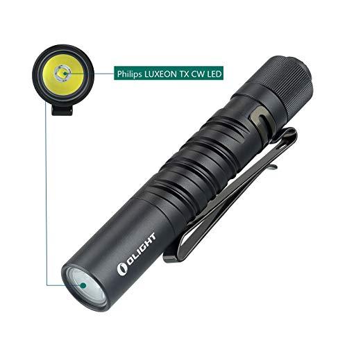 Olight I3T EOS EDC Taschenlampe 180 Lumen / 60 Meter tragbare Taschenlampen Dünne kleine Taschenlampe mit zwei Ausgängen, mit AAA-Batterie und BanTac Batteriegehäuse (Schwarz) Aaa Taschenlampe