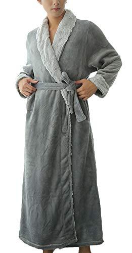 Bademantel Damen Herren Lang Loose Basic Bequem Flanell Morgenmantel Langarm Mode Marken V-Ausschnitt Fashion Weiches Unisex Pärchen Saunamantel Schlafanzüge Winter (Color : Grau, Size : M)