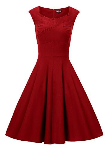 Gigileer Elegante 50er Damen Swing Kleider festliche Cocktail Hochzeit Abendkleid Knielang burgundy L