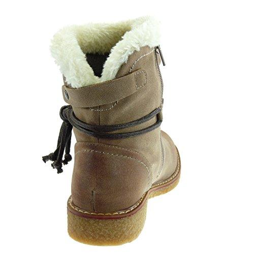 Angkorly Scarpe Moda Stivaletti Scarponcini stivali da neve cavalier donna pelliccia merletto fibbia Tacco a blocco 2.5 CM Foderato di Pelliccia Taupe