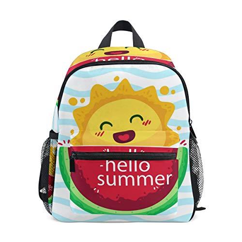Hello Summer Wassermelone Kleinkind Rucksack Schultasche Multi Cute Bookbags für Schule Jungen und Mädchen Kid Bags Kinder Reise Daypack 3-8 Jahre alt Vorschule