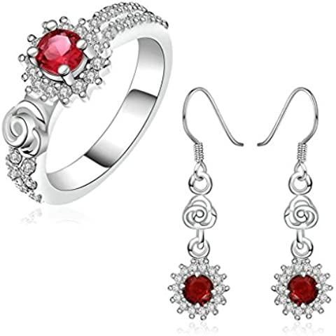 Gnzoe Gioielli Placcato argento Donna Dimensioni 17 Anello Drop Orecchini Sunflower Celtic Knot Red CZ Parure di