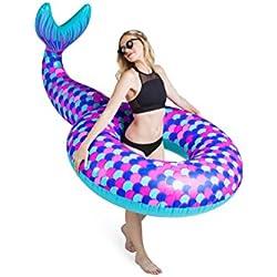 BigMouth Inc – Flotador Hinchable Cola de Sirena Gigante – Inflable Colchoneta Piscina Playa