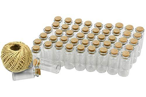 Mini Glasfläschchen mit Korkverschluss, Klein Glasflaschen Fläschchen mit Korkenverschluss und 30m Garn, Hochzeitseinladung, Schmuck DIY Projekte, Bastel ()
