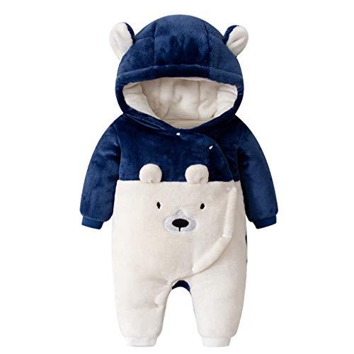 Livoral Baby Winterjacke Neugeborenes Baby Baby Boy Floral Rüschen Bär Jumpsuit Jumpsuit Jumpsuit Set(Blau,18-24 Monate)