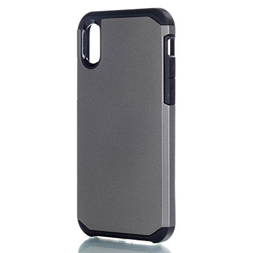 CaseforYou Hülle iphone X Schutz Gehäuse Hülse Hybrid Dual Layer Armor Shockproof Slim Back Case Protective Cover Schutzhülle für iphone X Handy (Rose Gold) Grey