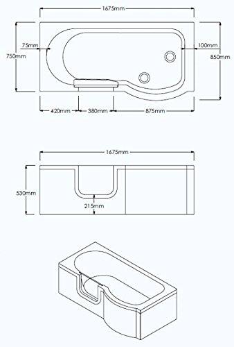 Badewanne 1670×850 mm / 167×85 cm HOCONCERT mit Tür inkl. Duschaufsatz, Schürze und Ablauf