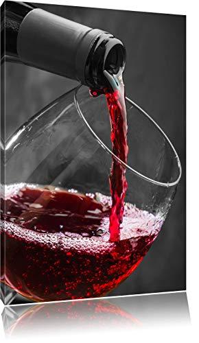 köstlicher Rotwein schwarz/weiß Format: 80x60 auf Leinwand, XXL riesige Bilder fertig gerahmt mit Keilrahmen, Kunstdruck auf Wandbild mit Rahmen, günstiger als Gemälde oder Ölbild, kein Poster oder Plakat