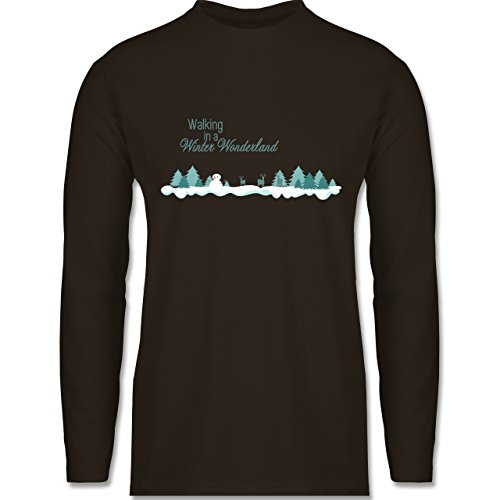 Weihnachten & Silvester - Walking in a Winter Wonderland Schnee - Longsleeve / langärmeliges T-Shirt für Herren Braun