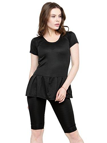 N-Gal Women Frock Style Solid Short Sleeve & Knee Shorts One Piece Swimwear Swimsuit-NBES06 (Small, Black)