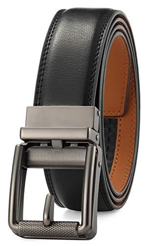 GFG Herren Gürtel,Leder Automatik Gürtel Für Herren Jeans Anzug Gürtel-3,5cm Breite-0012-125-Schwarz