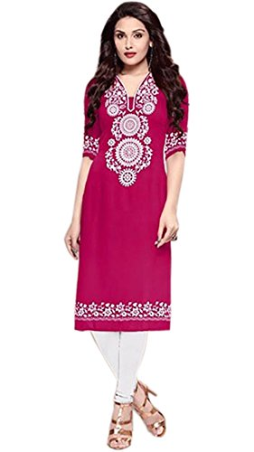 Vipul Women\'s Branded PINK & WHITE Casual Wear Printed Polyester Free Size Kurti (Best Gift For Mummy Mom Wife Girl Friend, Offers and Sale Discount)